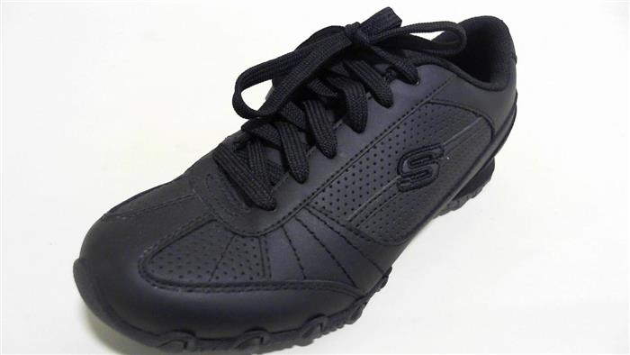 skechers new womens black leather athletic shoes lace up