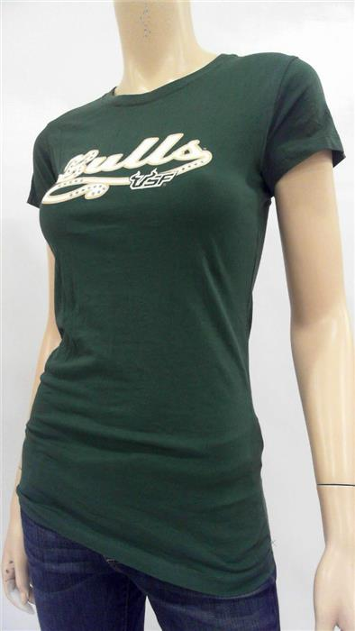 NCAA University South Florida Bulls Womens S Cotton Shirt Top Green CHOP 32TYz1