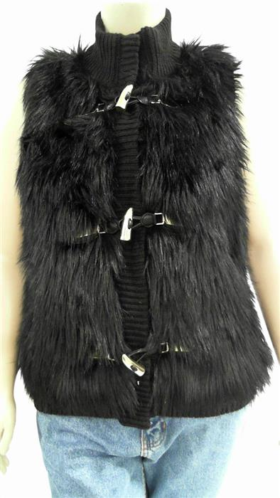 Michael Kors NEW Womens XL Faux Fur Zip Front Stand Collar Basic Top CHOP 3BXYz2