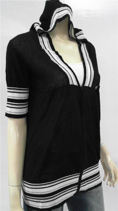 Day Trip Womens L Zip-Front Hood Knit Sweater Solid Top Short Sleeve CHOP 3KT6z1