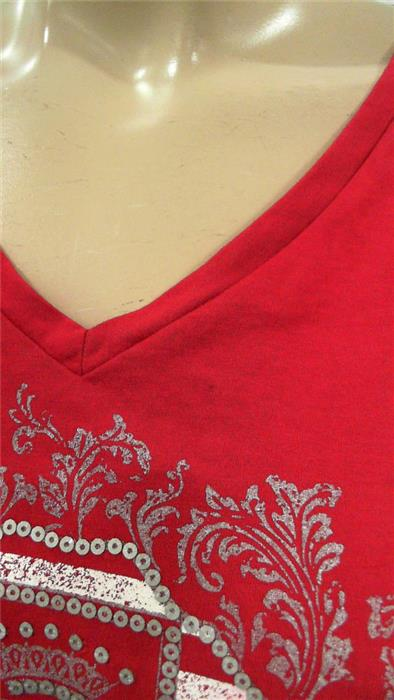 Tommy Hilfiger Womens XL Shirt Top Pull Over V-Neck Slim Fit Logo CHOP 3SZBz1