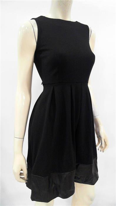 Calvin Klein Womens Petite 0P Faux Leather Paneled Cinch Waist Dress CHOP 3TD3z1