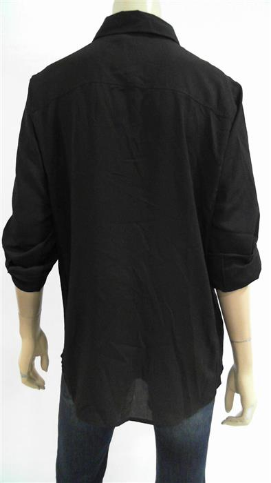 Calvin Klein NEW Womens L Blouse Top Button-Down Collar Flap Pocket CHOP 3YK8z1